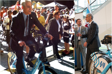Rahm Emanuel touts Chicago as a bike-friendly city amid budget crisis and corruption scandal.