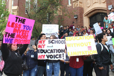 Students from Roosevelt High School, 3436 W. Wilson Ave., walked out of school Monday to protest cuts.