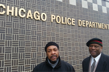 Community activists Kingdom Sanders and Geoff Watts went to the Police Department's Chicago Lawn District office to speak with officers about increasing the number of CAPS meetings.