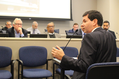 Ald. Brian Hopkins testifies before the Commission on Chicago Landmarks Thursday.