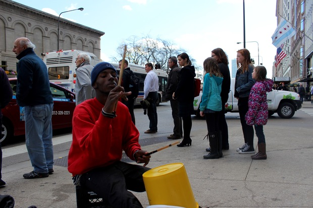 Torrce Penn, 22, of Englewood performs Nov. 13 across the street from the Art Institute of Chicago.