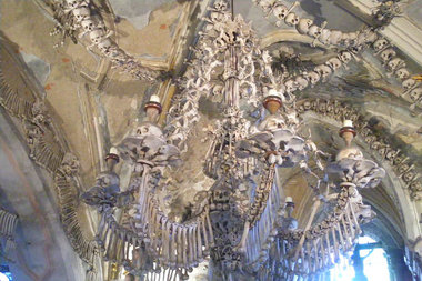 The historic Church of Bones is located an hour outside Prague.