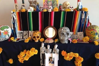 The Día de los Muertos altar created by Mexican artist Oskar Romero at the Ed Paschke Art Center.
