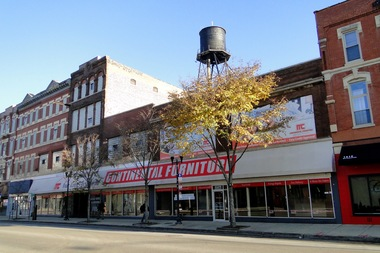 Arguably the neighborhood's largest furniture store, Continental Furniture spans three adjacent two- and four-story commercial buildings: at 1417-19 N. Milwaukee Ave.; 1421 N. Milwaukee Ave.; and 1425 N. Milwaukee Ave.