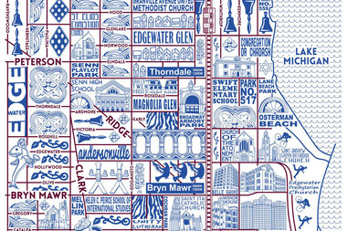 One of artist Joe Mills' newest additions to his Chicago map collection, featuring Edgewater and Andersonville.