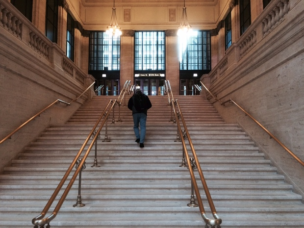 Union Station's marble steps near Canal Street have been shown in films including