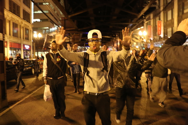 More than 200 protesters took to the streets Downtown Wednesday evening to call for justice for Laquan McDonald and for the end of police brutality.