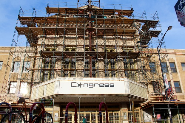 Congress Theater renovations are underway.