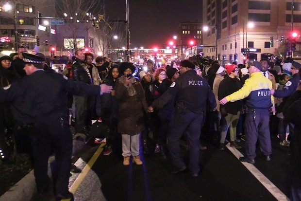 Hundreds protested the shooting death of Laquan McDonald Tuesday night.