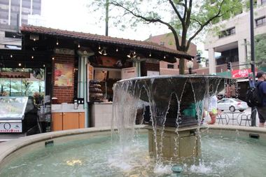 A fountain and concession stand at Mariano Park, 1031 N. State St.