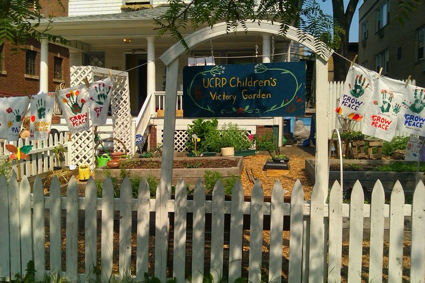 The youth group's current peace garden in front of the house that will be demolished to make way for a bigger garden and small park.
