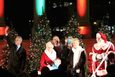 Mayor Rahm Emanuel attended the city's tree-lighting ceremony, originally scheduled for 5:30 p.m.