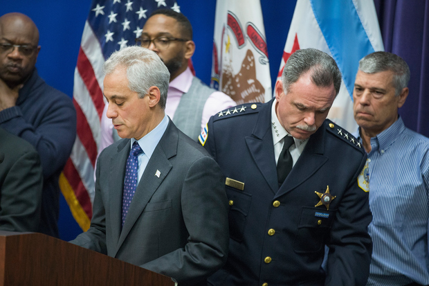 Rahm Emanuel, right, and Police Supt. Garry McCarthy at the press conference ahead of the release of the Laquan McDonald video.