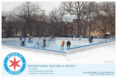 A rendering of an ice skating rink that will be erected in Wicker Park on Dec. 5 and open until March 1st, weather permitting. The rink is not refrigerated and requires the temperature to be below freezing.