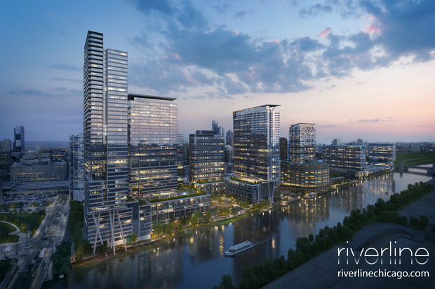 A rendering at dusk of the proposed Riverline development at Harrison and Wells streets.