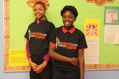 Trinity Lewis (l.) and Daysha Straight are Cook Elementary students who joined the poetry group ROYAL.