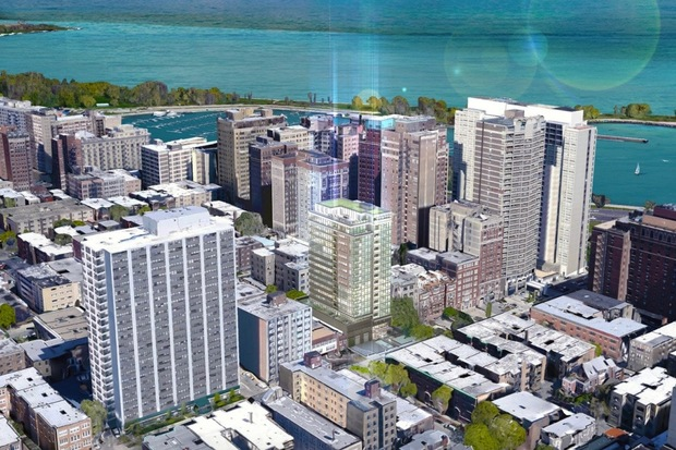 Developers are proposing a 17-story midrise residential building for 450-454 W. Belmont Ave.