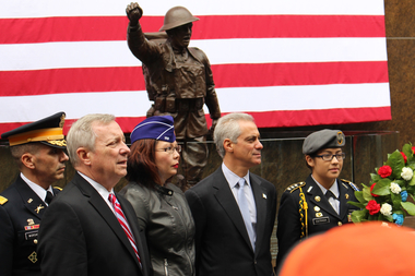 Mayor Rahm Emanuel at last year's Veterans Day commemoration at Soldier Field.