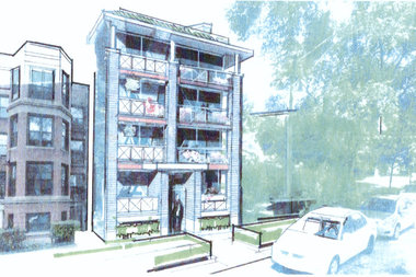 A rendering of what a new building could look like at 7522 N. Eastlake Terrace, as proposed by owner and resident Denis Detzel.