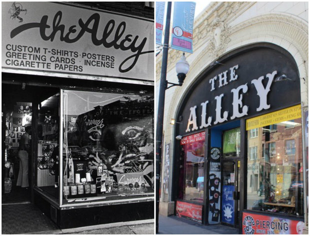 The Alley back in the day and today.