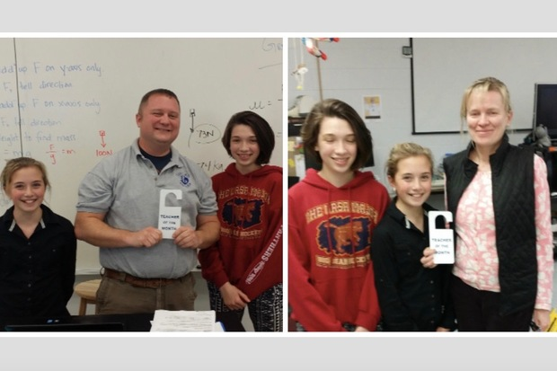 Science teacher Brian Hayes (l.) and Grazyna Zmyslowski (r.) a teacher in the school's severe and profound cognitive disabilities program, were chosen as teachers of the month.