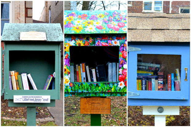 Three Free Little Libraries that can all be found along just one street in Edgewater.