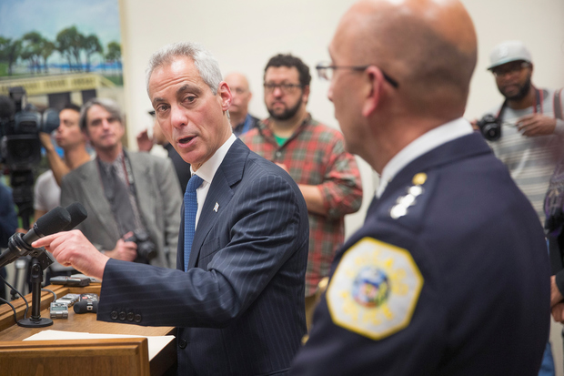 Rahm Emanuel met reporters with Interim Supt. John Escalante to discuss the appointment of Sharon Fairley to the Independent Police Review Authority.