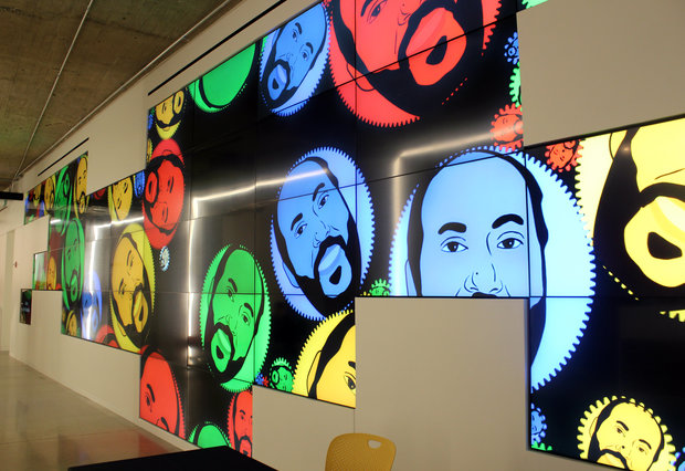 The lobby of Google's new Chicago offices in the West Loop features a wall of rotating digital artwork.