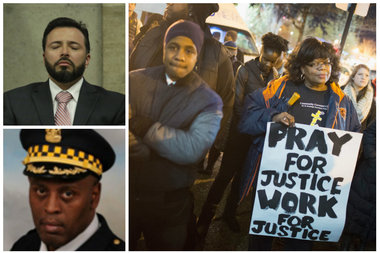 Judges overwhelmingly side with police in Chicago misconduct cases. Dante Servin (upper left), Glenn Evans (bottom left) and protesters following the release of the Laquan McDonald shooting video.