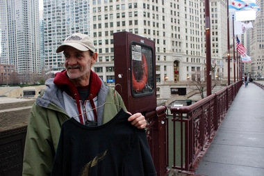 StreetWise vendor Jimmie Tucker, of Lakeview, sold shirts at last year's pop-up near Michigan and Wacker.