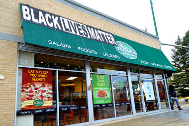 After a few neighbors complained about the Black Lives Matter banner at Pockets, 7126 N. Ridge Blvd., the owner said he took it down. But when they became
