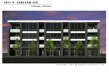 A rendering of a proposed four-story, 33-unit condo and retail building at 1011 N. Ashland Ave.