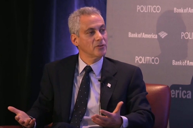Rahm Emanuel sits for an interview with Politico reporters this week.