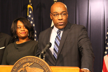 Backed by state Sen. Kimberly Lightford, state Sen. Kwame Raoul calls Chicago and Cook County