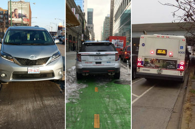 Cars, police vehicles and CTA buses in Chicago bike lanes.