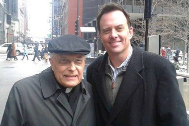 Conservative radio pundit Dan Proft (r.) with the late Cardinal Francis George in a photo posted on Twitter last year.