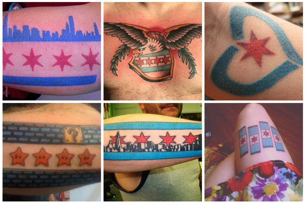 A West Town tattoo shop is selling prints that explain the symbolism behind Chicago's flag.
