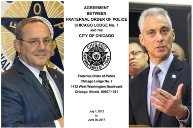 Fraternal Order of Police President Dean Angelo Sr. (l) and Mayor Rahm Emanuel.