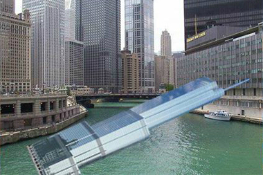 An illustration of the 98-story Trump International Hotel & Tower, 401 N. Wabash Ave., floating in the Chicago River.