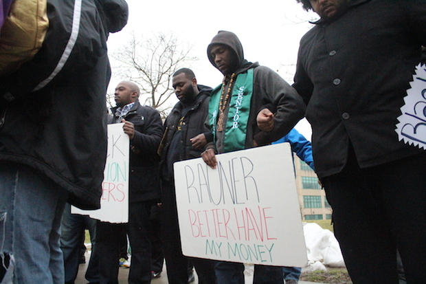 Chicago State University students on campus before marching to protest the budget.