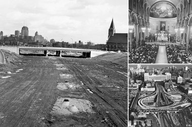 Left: Construction of Kennedy Expressway, looking southeast from Chicago Avenue in Chicago, Illinois, May 1, 1960. Top right: Interior of Saint Stanislaus Kostka church during mass at Evergreen and Noble Streets in Chicago, Illinois, April 11, 1942. Bottom right: Looking east at the interchange of the Dwight D. Eisenhower Expressway, the John F. Kennedy Expressway, and the Dan Ryan Expressway, at Halsted Street, Chicago, Illinois, October 16, 1961. Also known as the Circle Interchange.