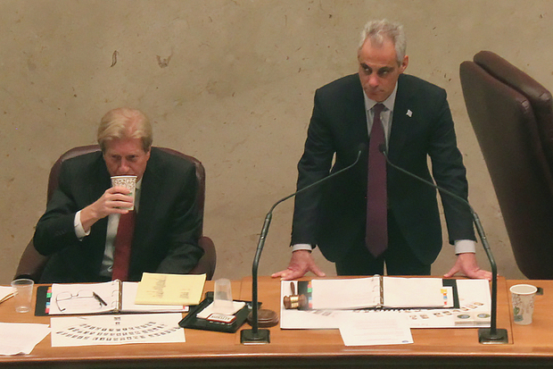 Mayor Rahm Emanuel and the city's Corporation Counsel Steve Patton listen to aldermen discuss policing issues during a December 2015 City Council meeting.