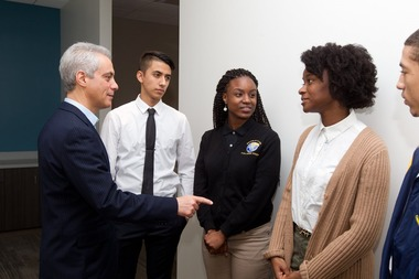 Mayor Rahm Emanuel met students, including Lake View High School senior Damian Medina, during a breakfast celebrating the successes of the five early college STEM high schools in Chicago.