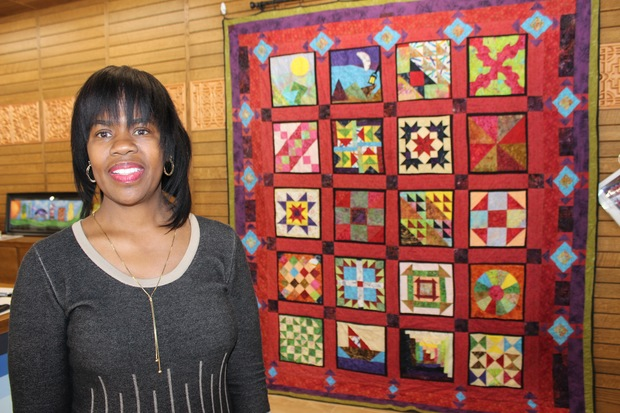 Dorothy Straughter's quilt is on display at The Quilter's Trunk in Beverly. The 20 panels are all subtle clues that supporters of the Underground Railroad may have used to provide clues to escaped slaves about dangers ahead or strategies for their journey to freedom.