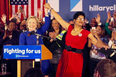 Hillary Clinton was introduced by Geneva Reed-Veal, mother of Sandra Bland, at the Parkway Ballroom.