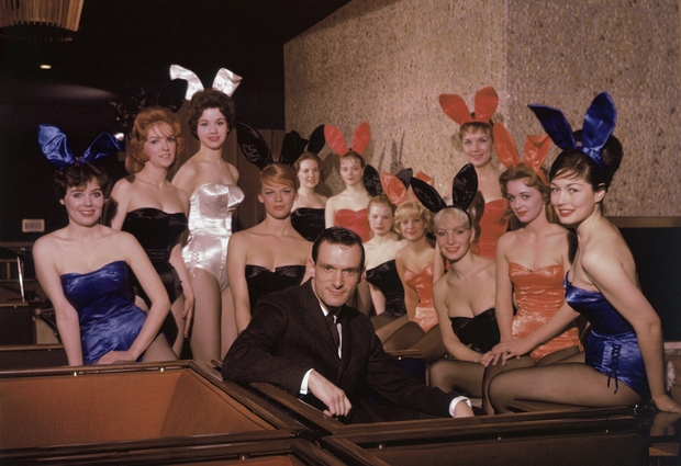 Chicago's Playboy Club was founded Feb. 29, 1960. Hugh Hefner is shown with some of the Playboy Bunnies.