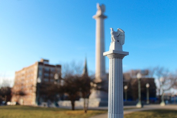 A miniature statue of the Illinois Centennial Monument Statue will be available this summer.