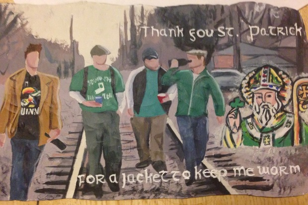 "Artist David Barista has created four paintings called ""Votive Paintings to St. Patrick."" The scenes painted on Guinness cans and a box depict his past and present memories of the South Side Irish St. Patrick's Day Parade."