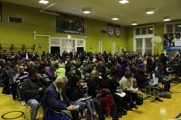 About 300 people attended a meeting to discuss the Lathrop Homes plan in February.
