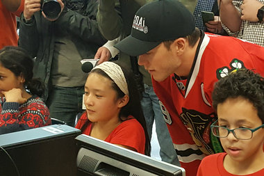 The Blackhawks' Captain Wanted To Thank The Students For Participating In The G.O.A.L. Program.